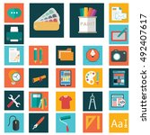 design flat icons. set of... | Shutterstock .eps vector #492407617
