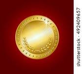 gold coin. vector illustration... | Shutterstock .eps vector #492409657