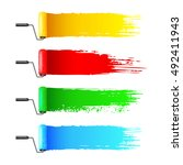 colorful paint rollers and... | Shutterstock .eps vector #492411943