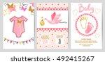 baby shower girl set. vector...   Shutterstock .eps vector #492415267