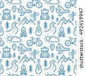 seamless pattern with adventure ... | Shutterstock .eps vector #492419947