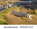 the truck lies in a ditch after ... | Shutterstock . vector #492427117