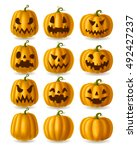 set of jack o lanterns  yellow... | Shutterstock .eps vector #492427237
