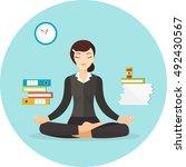 business woman meditating. work ... | Shutterstock .eps vector #492430567