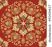 seamless ethnic pattern with... | Shutterstock .eps vector #492434617