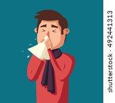 sick man. unhappy character.... | Shutterstock .eps vector #492441313
