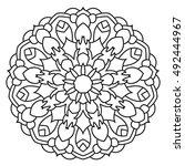 eastern ethnic mandala. round... | Shutterstock .eps vector #492444967