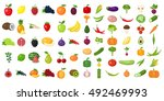 set of fruits and vegetables. | Shutterstock . vector #492469993
