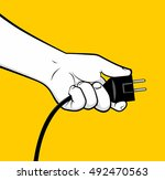 man hand connecting electrical... | Shutterstock .eps vector #492470563