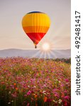 color balloon over cosmos... | Shutterstock . vector #492481417