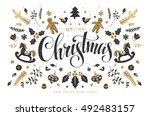 christmas postcard with  hand... | Shutterstock .eps vector #492483157