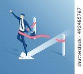 businessman crosses the finish... | Shutterstock .eps vector #492485767