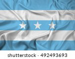 waving flag of guayaquil ... | Shutterstock . vector #492493693