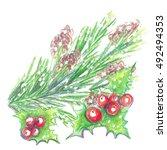 watercolor crayons christmas...   Shutterstock . vector #492494353