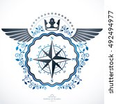 vector emblem  vintage heraldic ... | Shutterstock .eps vector #492494977