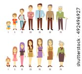 people generations at different ... | Shutterstock .eps vector #492496927
