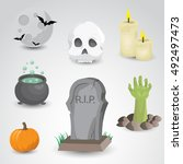 halloween icon set isolated on... | Shutterstock . vector #492497473
