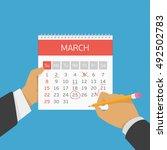 hand with pencil mark calendar. ... | Shutterstock .eps vector #492502783