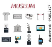 museum icons flat set of sign... | Shutterstock . vector #492511627