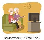 elderly couple sitting on the... | Shutterstock .eps vector #492513223