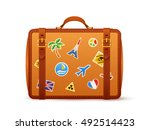 orange leather vector suitcase... | Shutterstock .eps vector #492514423