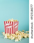 bucket of popcorn against a... | Shutterstock . vector #492518077