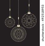 vector christmas balls on black ... | Shutterstock .eps vector #492518953