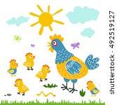 funny vector cartoon colorfull... | Shutterstock .eps vector #492519127