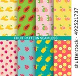 colorful fruit seamless pattern ... | Shutterstock .eps vector #492521737
