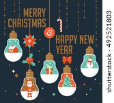 merry christmas and happy new... | Shutterstock .eps vector #492521803