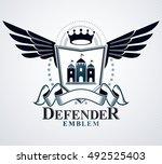 vintage emblem  vector heraldic ... | Shutterstock .eps vector #492525403