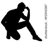 worried man  vector | Shutterstock .eps vector #492541087