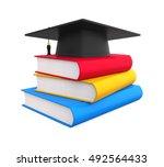 graduation cap and books. 3d... | Shutterstock . vector #492564433
