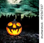 Scary Halloween Pumpkin With...