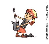 girl playing an electric guitar.... | Shutterstock .eps vector #492571987