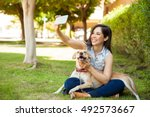 gorgeous young woman and her...   Shutterstock . vector #492573667