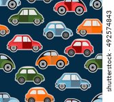 vector colored cars. seamless... | Shutterstock .eps vector #492574843