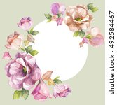 flowers frame.watercolor on... | Shutterstock . vector #492584467