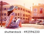 woman tourist travel in italy.... | Shutterstock . vector #492596233