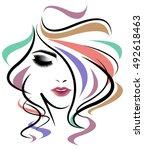 illustration of women long hair ... | Shutterstock .eps vector #492618463