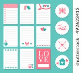 pages for notepad with romantic ... | Shutterstock .eps vector #492623413