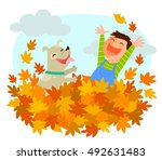 boy and his dog playing in a... | Shutterstock . vector #492631483