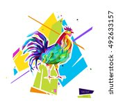 abstract bright rooster. sign... | Shutterstock .eps vector #492633157
