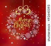 merry christmas golden hand... | Shutterstock .eps vector #492640393