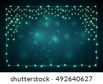 christmas frame with lights and ... | Shutterstock .eps vector #492640627