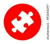 puzzle piece sign. white icon...