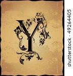 Vintage Initials Letter Y
