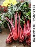 Fresh Organic Rhubarb On Local...