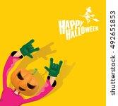 happy halloween vector creative ...   Shutterstock .eps vector #492651853