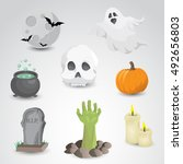 halloween icon set isolated on... | Shutterstock . vector #492656803